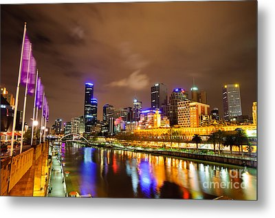 Night View Of The Yarra River And Skyscrapers - Melbourne - Australia Metal Print by David Hill