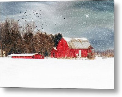 Night's Snow Dust Metal Print by Mary Timman