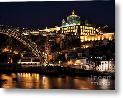 Nighttime In Porto Metal Print by John Rizzuto