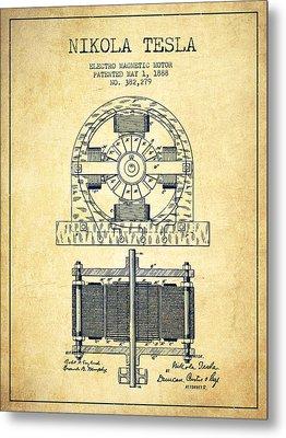 Nikola Tesla Electro Magnetic Motor Patent Drawing From 1888 - V Metal Print by Aged Pixel