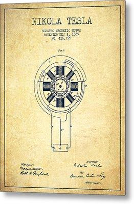Nikola Tesla Patent Drawing From 1889 - Vintage Metal Print by Aged Pixel