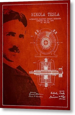 Nikola Tesla Patent From 1891 Metal Print by Aged Pixel