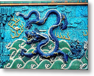 Nine Dragon Wall In Forbidden City Metal Print by Anna Lisa Yoder