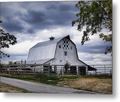Nine Patch Quilt Barn Metal Print by Cricket Hackmann