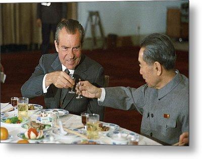 Nixon In China. President Richard Nixon Metal Print by Everett