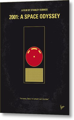No003 My 2001 A Space Odyssey 2000 Minimal Movie Poster Metal Print by Chungkong Art