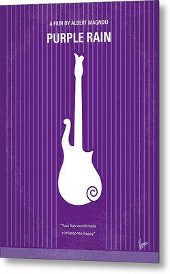 No124 My Purple Rain Minimal Movie Poster Metal Print by Chungkong Art
