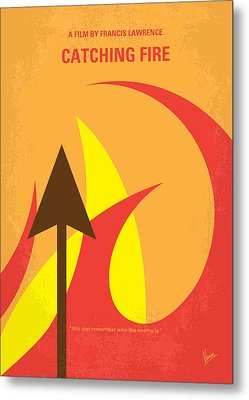 No175-2 My Catching Fire - The Hunger Games Minimal Movie Poster Metal Print by Chungkong Art