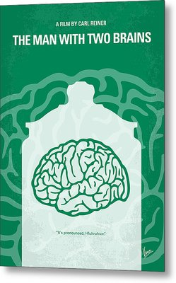 No390 My The Man With Two Brains Minimal Movie Poster Metal Print by Chungkong Art