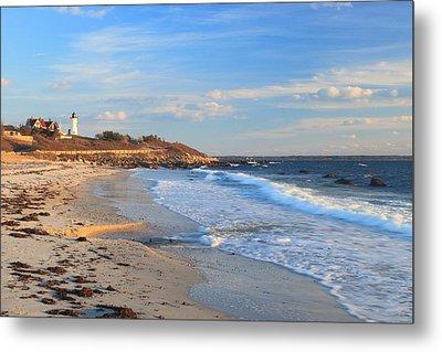 Nobska Lighthouse And Nobska Beach Cape Cod Metal Print by John Burk