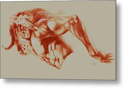 North American Minotaur Red Sketch Metal Print by Derrick Higgins