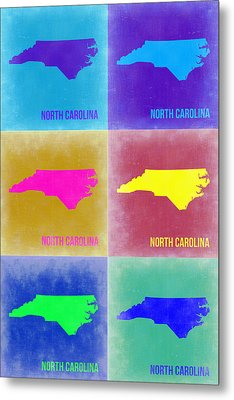 North Carolina Pop Art Map 2 Metal Print by Naxart Studio
