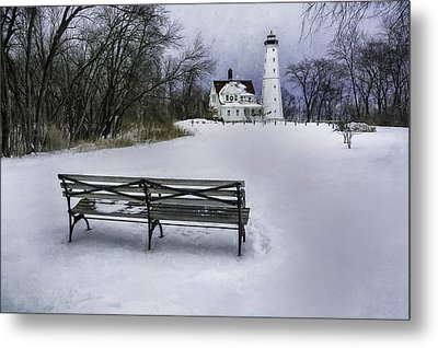 North Point Lighthouse And Bench Metal Print by Scott Norris