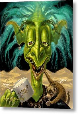 Not Enough Coffee Troll Metal Print by Jeff Haynie