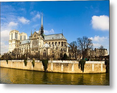 Notre Dame De Paris And The River Seine Metal Print by Mark E Tisdale