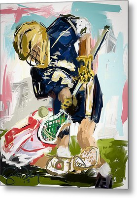 College Lacrosse Faceoff 1 Metal Print by Scott Melby