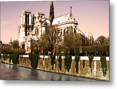 Notre Dame On The Seine Metal Print by Linda  Parker