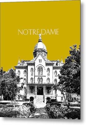Notre Dame University Skyline Main Building - Gold Metal Print by DB Artist