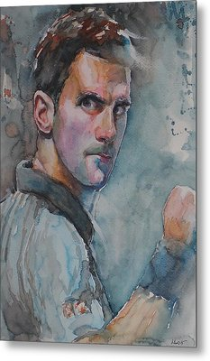 Novak Djokovic - Portrait 1 Metal Print by Baresh Kebar