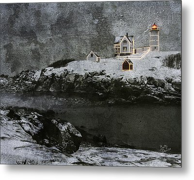Nubble Light Stormy Night Metal Print by Betty Denise