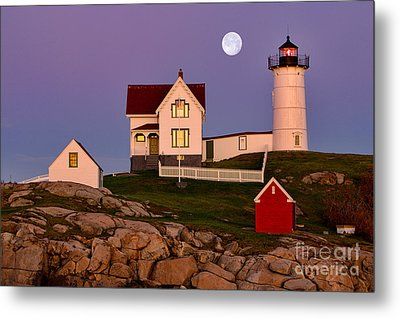 Nubble Lighthouse And Moon Metal Print by Jerry Fornarotto