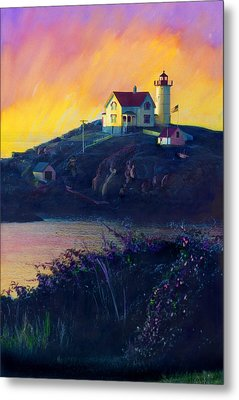 Nubble Lighthouse Metal Print by Cindy McIntyre