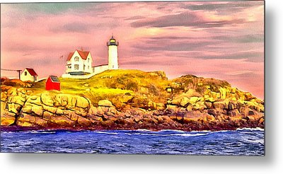 Nubble Lighthouse Metal Print by Kathryn Bailey