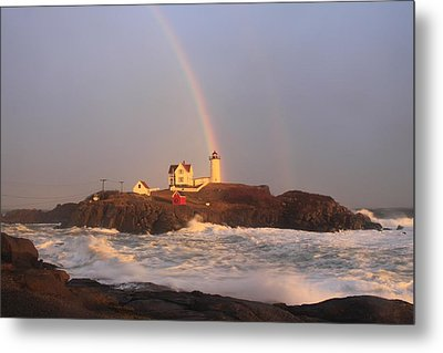 Nubble Lighthouse Rainbow And High Surf Metal Print by John Burk
