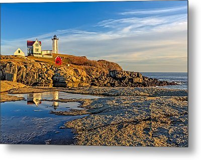Nubble Lighthouse Reflections Metal Print by Susan Candelario