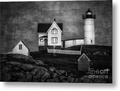 Nubble Lighthouse Texture Bw Metal Print by Jerry Fornarotto