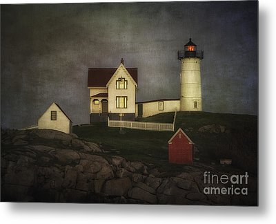 Nubble Lighthouse Texture Metal Print by Jerry Fornarotto