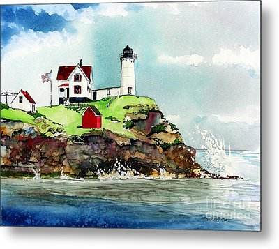 Nubble Lighthouse Metal Print by Tom Riggs