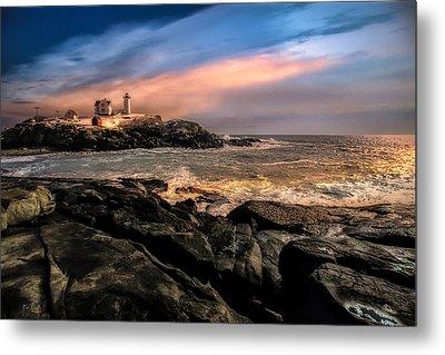 Nubble Lighthouse Winter Solstice Sunset Metal Print by Bob Orsillo