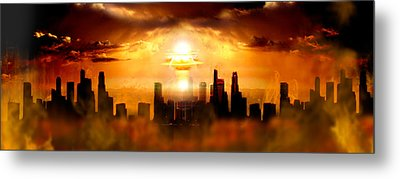 Nuclear Blast Behind City Metal Print by Panoramic Images