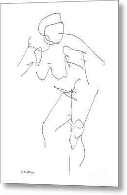 Nude Female Drawings 14 Metal Print by Gordon Punt