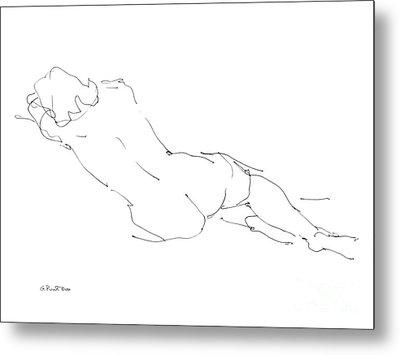 Nude Female Drawings 9 Metal Print by Gordon Punt