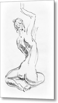 Nude Model Gesture V Metal Print by Irina Sztukowski