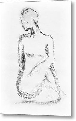 Nude Model Gesture Vi Metal Print by Irina Sztukowski