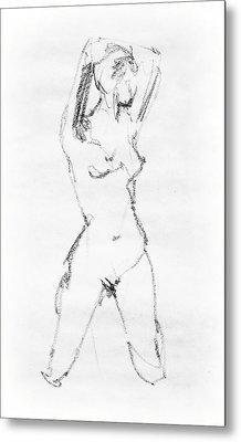 Nude Model Gesture Vii Metal Print by Irina Sztukowski