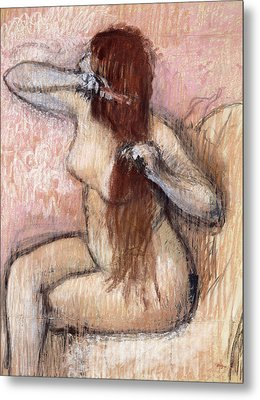 Nude Seated Woman Arranging Her Hair Femme Nu Assise Se Coiffant Metal Print by Edgar Degas