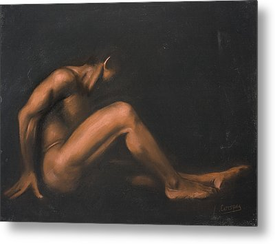 Nude Sitting Metal Print by L Cooper