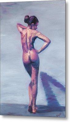 Nude Woman In Finger Strokes Metal Print by Shelley Irish