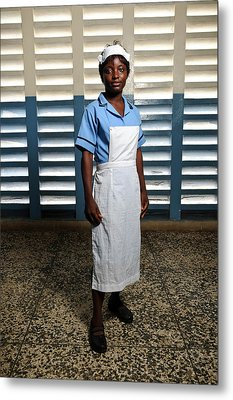 Nurse In Sierra Leone Metal Print by Matthew Oldfield
