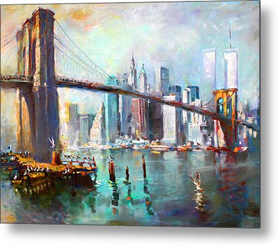 Ny City Brooklyn Bridge II Metal Print by Ylli Haruni