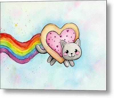 Nyan Cat Valentine Heart Metal Print by Olga Shvartsur
