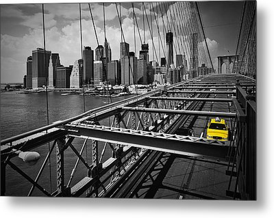 Nyc Brooklyn Bridge View Metal Print by Melanie Viola