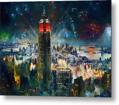 Nyc In Fourth Of July Independence Day Metal Print by Ylli Haruni