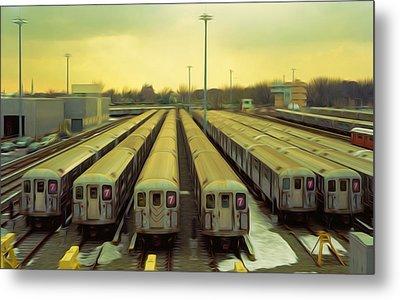 Nyc Subway Cars Metal Print by Lanjee Chee