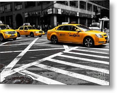 Nyc  Yellow Cab - Cki Metal Print by Hannes Cmarits