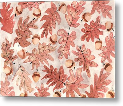 Oak Leaves And Acorns Metal Print by Neela Pushparaj